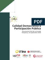 Calidad Democrática y Participacion Publica Jornadas Pamplona 2010