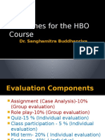 Guidelines for the HBO Course
