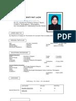 Curriculum Vitae (Siti Ruslina Binti Mat Lazin)