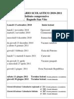 CALENDARIO SCOLASTICO 2010-2011