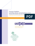 Autism SIG Consumer Guidelines 2007