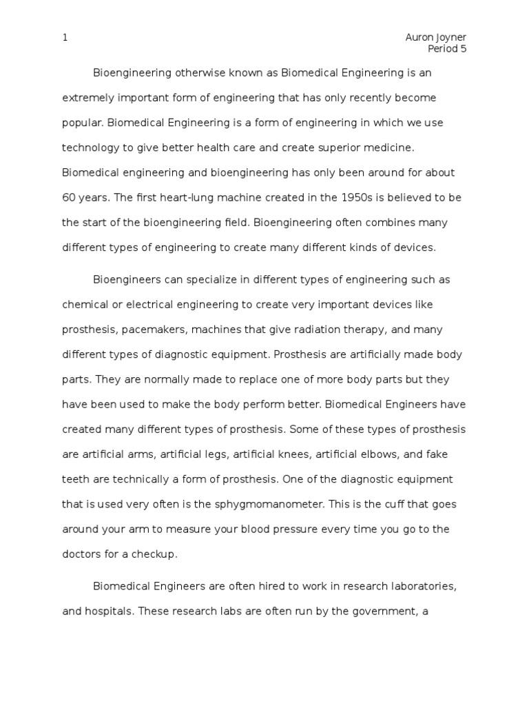 bioengineering essay | Biomedical Engineering | Biological Engineering