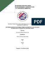 DETERMINACIÓN DE COLIFORMES TERMOTOLERANTES Y E.COLI EN AGUA POTABLE POR LA TÉCNICA DE TUBOS MULTIPLES