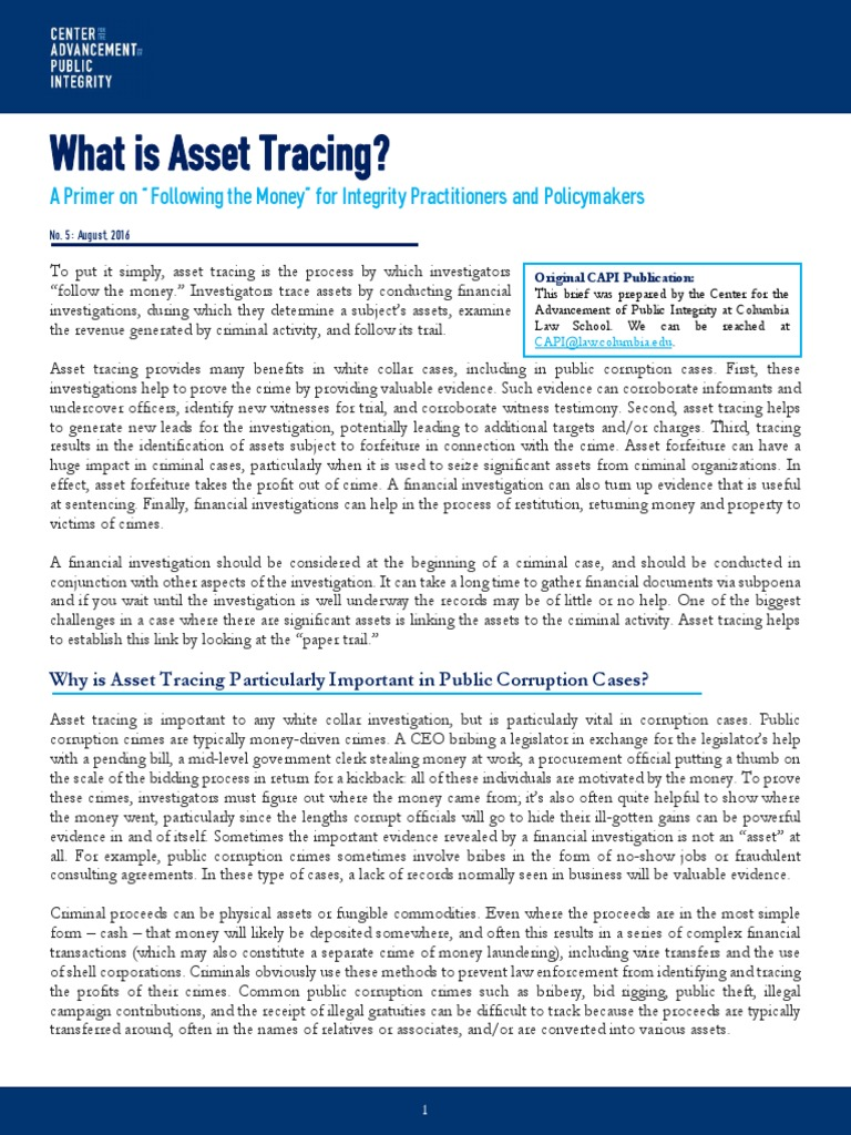 What is asset tracing capi issue brief august 2016 money laundering asset forfeiture