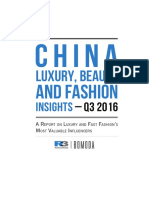 China Luxury Beauty and Fashion KOL Insights – Q3 2016