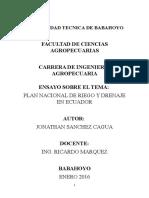 Plan Nacional de Riego y Drenaje en Ecuador