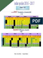 Calendar Școlar 2016 -2017