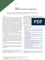 D7263.26013 Laboratorio Determinación de la densidad (peso unitario) del Suelo Las muestras