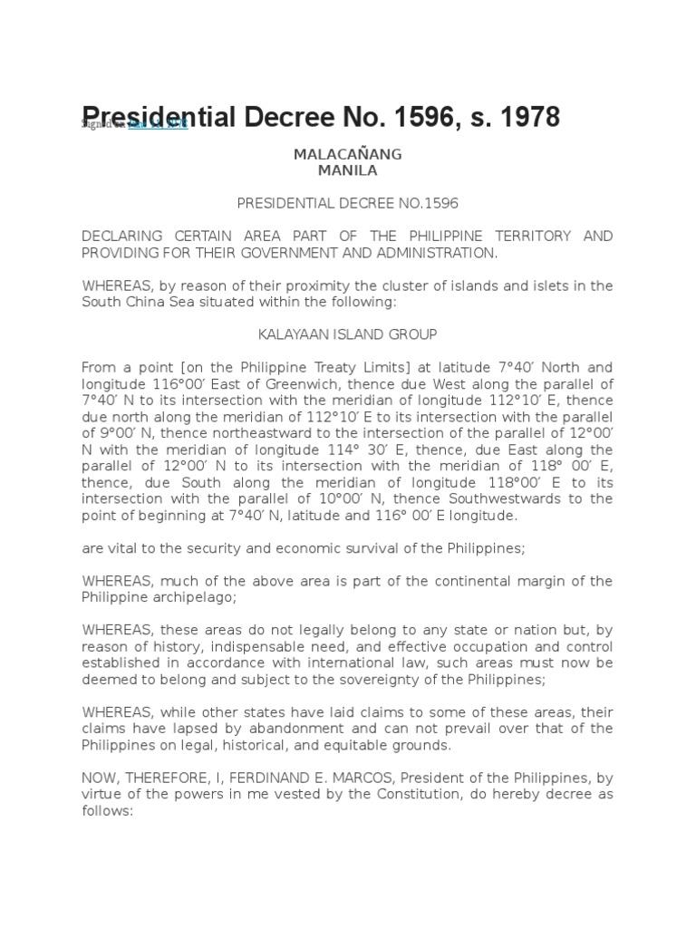 Presidential Decree Pol Law | Territorial Waters | Exclusive Economic Zone