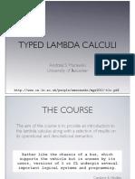 Typed Lambda Calculi