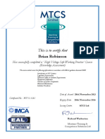 High Voltage Knowledge Certificate (B Robinson)(1)