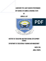 THE PRINICIPALS' LEADERSHIP STYLE AND TEACHERS PERFORMANCE IN SECONDARY SCHOOLS OF GAMBELLA REGIONAL STATE
