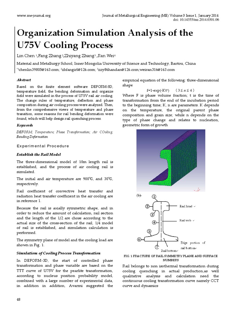 Organization simulation analysis of the u75v cooling process organization simulation analysis of the u75v cooling process phase transition heat treating ccuart Image collections