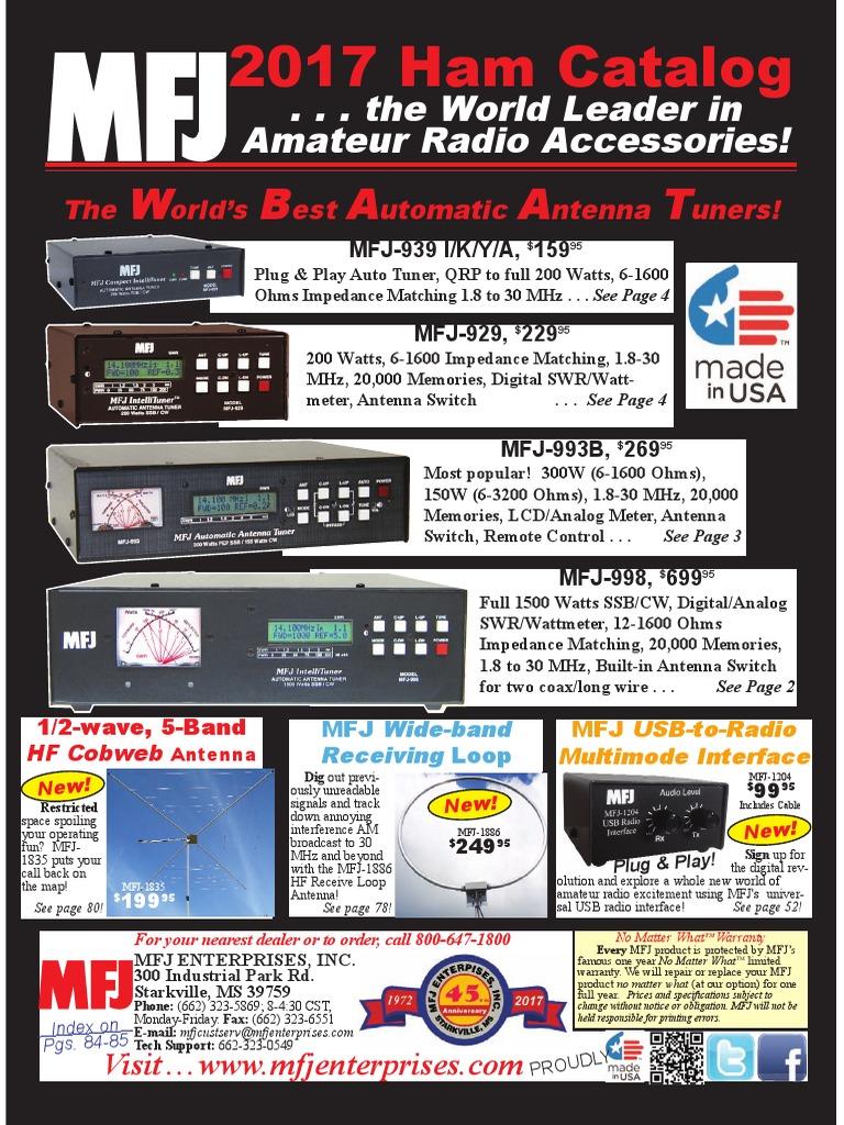 MFJ 2017 Ham Radio Catalog   Antenna (Radio)   Coaxial Cable