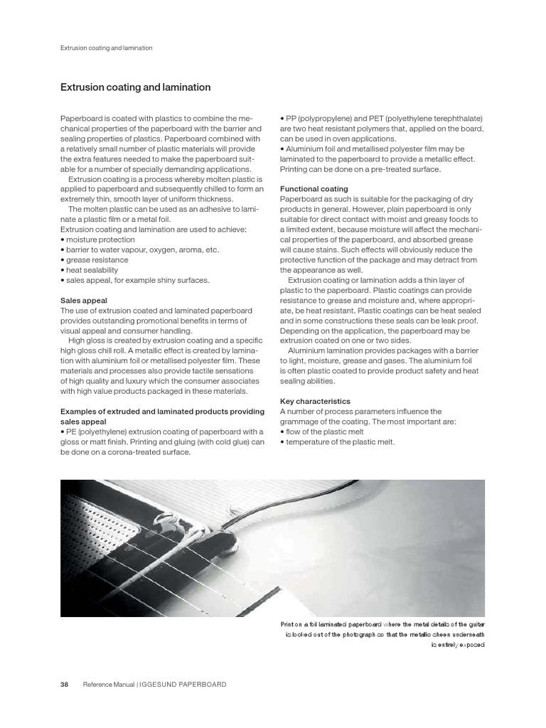 Extrusion Coating and Lamination En   Extrusion   Polyethylene