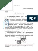 Carta de Presentacion Empresa CONSTRUCCIONES ROSGAF89, C.A