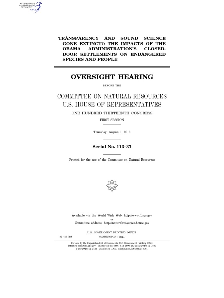 house hearing, 113th congress - transparency and sound science