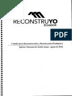 Informe trimestral de Gestión (mayo-agosto de 2016). Comité para Reconstrucción y Reactivación Productiva