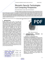 A Survey on Biometric Security Technologies From Cloud Computing Perspective