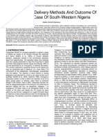 An Analysis of Delivery Methods and Outcome of Child Birth Case of South Western Nigeria
