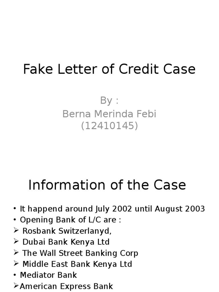 fake letter of credit case ebby banking politics
