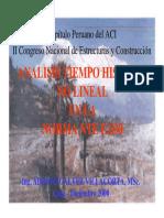 """Gálvez a., """"Análisis Tiempo – Historia No Lineal en La Norma Peruana de Diseño Sismorresistente"""", Lima, Perú, 2000."""