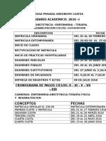 Cronograma 2016 I Del II Al VIII Ciclo