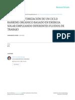 Análisis y Optimización de Un Ciclo Rankine Orgánico Basado en Energía Solar Empleando Diferentes Fluidos de Trabajo