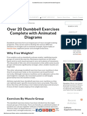 Dumbbell Exercises Complete With Animated Diagrams | Weight