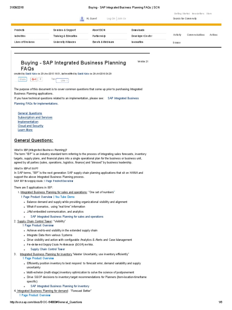Buying - SAP Integrated Business Planning FAQs _ SCN