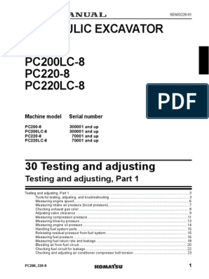 Komatsu PC200-8 Testing and Adjusting | Fuel Injection | Valve