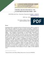 A EJA COMO POLÍTICA DE INCLUSÃO SOCIAL- UMA EXPERIÊNCIA NO MOVIMENTO DOS SEM TERRA MST.