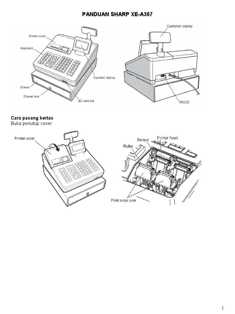 Buku Manual Panduan Mesin Kasir Cash Register Sharp XE A307