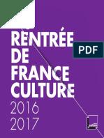 La rentrée de France Culture 2016-2017