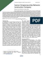 The Factors Influence Intrapreneurship Behavior in Construction Company