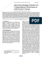 The Role of Determining Strategic Direction on Not for Profit Organizational Performance in Nairobi County in Kenya