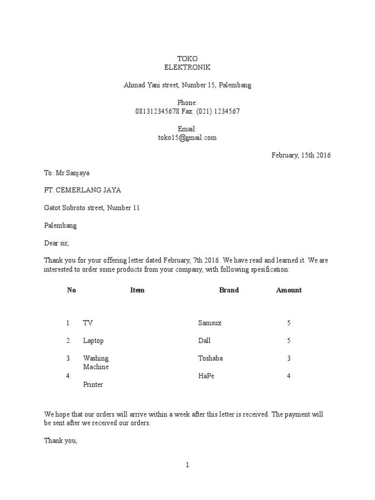 Surat Surat Pesanandocx Perangkat Keras Komputer Komputasi