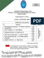 CAMPEONATO MAGISTERIAL 2016-PROGRAMACIÓN 5° FECHA