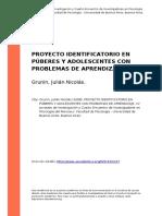 Grunin, Julian Nicolas (2008). Proyecto Identificatorio en Puberes y Adolescentes Con Problemas de Aprendizaje