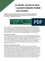 Fibrillazione Atriale, Rischio Di Ictus Più Alto Per i Pazienti Diabetici Trattati Con Insulina