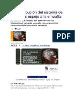 La Contribución Del Sistema de Neuronas Espejo a La Empatía