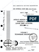 Apollo Mission Techniques Missions F and G Lunar Orbit Activities Revision a Volume 1