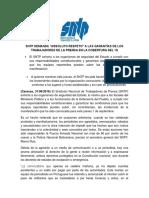 Boletin de Prensa. Sntp