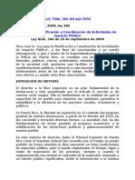 Ley Núm 366 2004 Planificacion y Coordinacion de Actividades de Impacto Publico