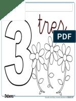 Ficha Del Numero 3 Tres Para Colorear e Imprimir