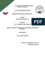 Impacto Positivo y Negativo de La Biotecnología Agrícola