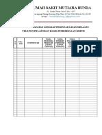 Formulir Catatan Lengkap Perintah Lisan