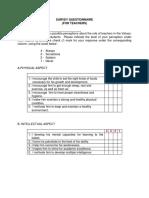Teachers Survey Questionnaire