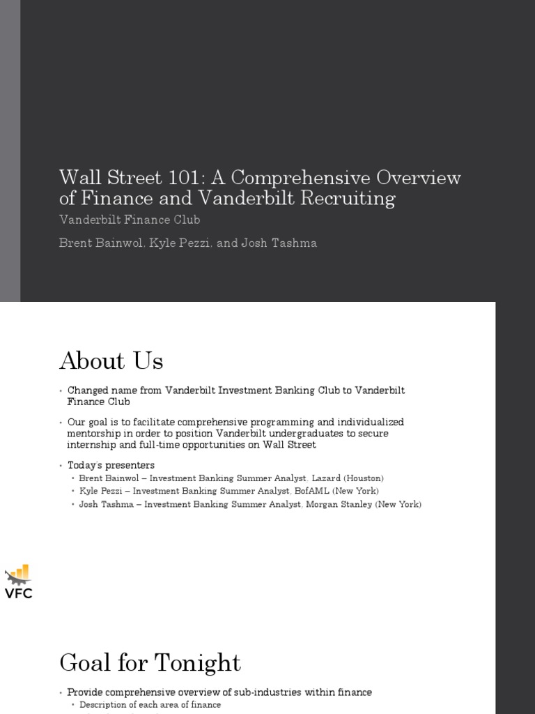 VFC Meeting 8 31 Discussion Materials pdf | Investment Banking
