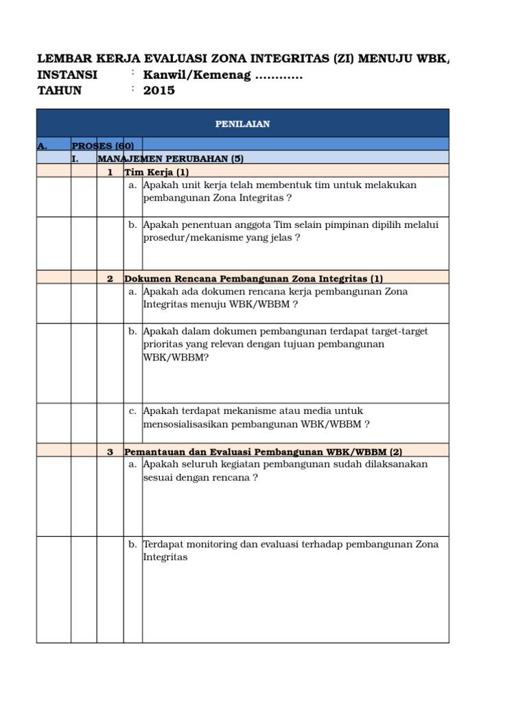 Lembar Kerja Evaluasi Zona Integritas Zi Menuju Wbk Wbbm